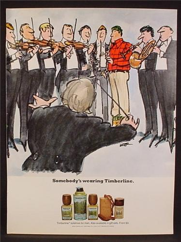 Magazine Ad For Timberline Cologne, Fragrance, Cartton Lumberjack In Orchestra, 1977