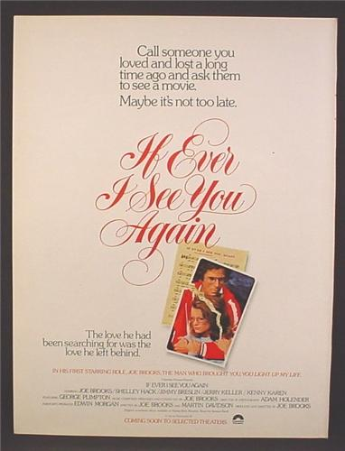 Magazine Ad For If Ever I See You Again Movie, Joe Brooks, Shelley Hack, 1978, 8 1/8 by 10 7/8