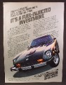 Magazine Ad For Datsun 280-Z Black Car With Red Pin Stripe on Hood, 1978, 8 1/8 by 10 7/8