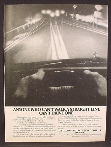 Magazine Ad For Anyone Who Can't Walk A Straight Line Can't Drive One,  Spirits Council, 1978