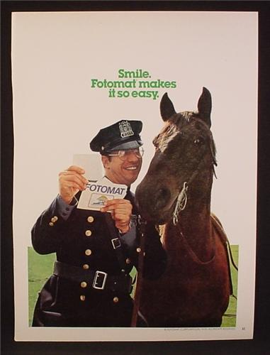 Magazine Ad For Fotomat, Police Offer Showing Pictures To His Horse, 1978, 8 1/8 by 10 7/8