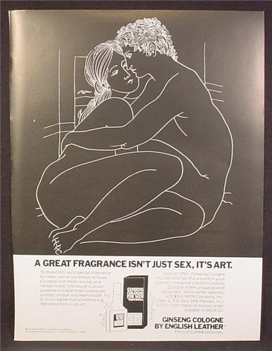 Magazine Ad For Ginseng Cologne By English Leather, A Great Fragrance Isn't Sex It's Art, 1979