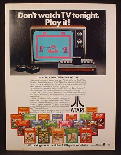 Magazine Ad For Atari Video Computer Game, 20 Game Cartridges Pictured, 1979, 8 1/8 by 10 7/8