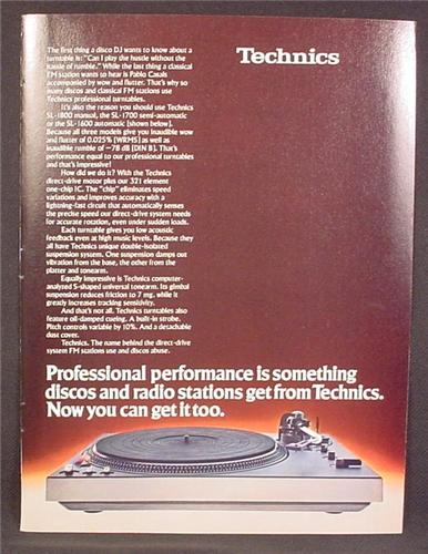Magazine Ad For Technics Professional Turntable, Model SL-1700, 1979, 8 1/8 by 10 7/8
