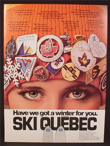 Magazine Ad For Ski Quebec, Woman In Toque with Pins From Different Resorts, Pinback, 1979