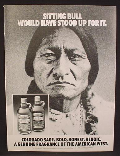Magazine Ad For Colorado Sage Cologne, Fragrance, American Indian, Sitting Bull, 1979