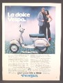 Magazine Ad For Vespa P200E Scooter, La Dolce Vespa, Side View, Silver, 1979, 8 1/8 by 10 7/8