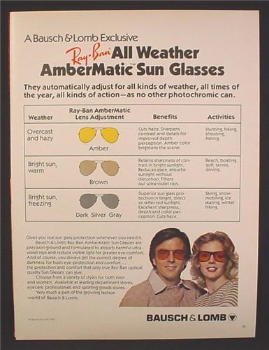 Magazine Ad For Bausch & Lomb Ray-Ban All Weather AmberMatic Sunglasses, Sun Glasses, 1979