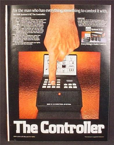 Magazine Ad For BSR System X-10 Controller, Plug Into Electric Outlet to Control 16 Items, 1979