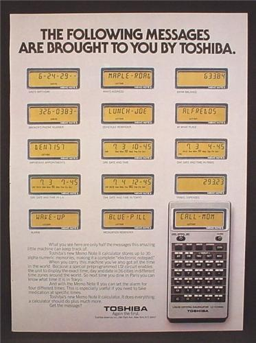 Magazine Ad For Toshiba Memo Note LC-1038MN Calculator, LC1038MN, Text & Numeric, 1979