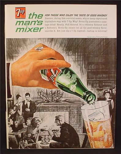 Magazine Ad For 7Up, Seven Up, The Man's Mixer, Couples By Fireplace, 1962, 8 3/8 by 11