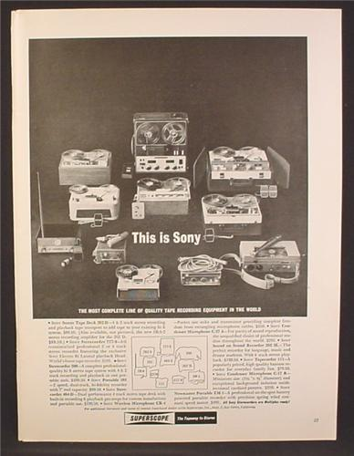 Magazine Ad For Sony Complete Line of Tape Recorders, Reel To Reel, Lists All The Models, 1962