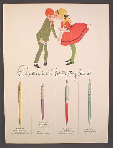 Magazine Ad For Paper Mate Pens, 4 Models Shown, Illustration of Girl Giving Boy A Kiss, 1962