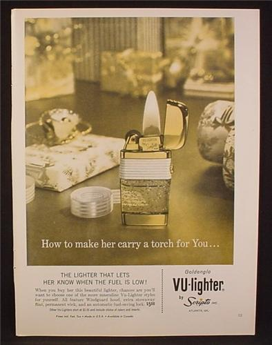 Magazine Ad For Scripto Goldenglo Vu-Lighter Make Her Carry A Torch For You, Vu Lighter, 1962