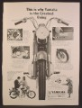Magazine Ad For Yamaha Santa Barbara 125 Motorcycle, View From The Front Forks, 1964