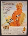 Magazine Ad For Coppertone Suntan Lotion, Elke Sommer in Bikini, Celebrity Endorsement, 1964