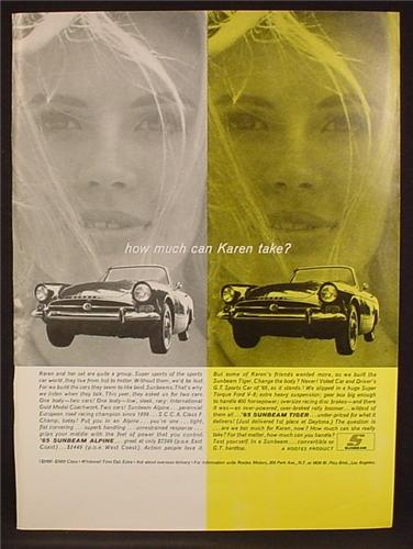 Magazine Ad For 1965 Sunbeam & Tiger Cars, Pretty Woman, How Much Can Karen Take, 1964