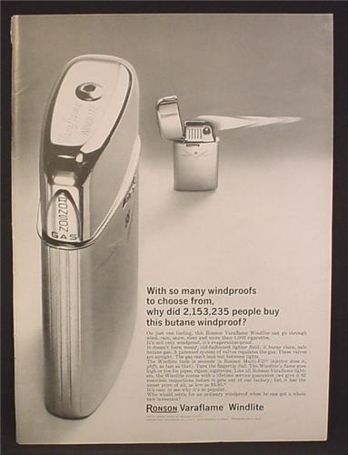 Magazine Ad For Ronson Varaflame Windlite Butane Lighter, Flames Straight Sideways, 1964