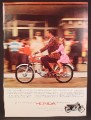 Magazine Ad For Honda 90 Motorcycle, Little Girl Riding On The Back, No Helmets, 1964