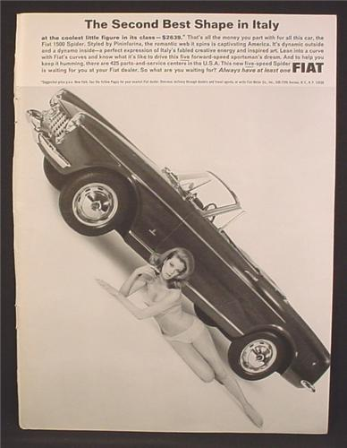 Magazine Ad For Fiat 1500 Spider Car, Sexy Woman In Bathing Suit, 2nd Best Shape In Italy, 1964