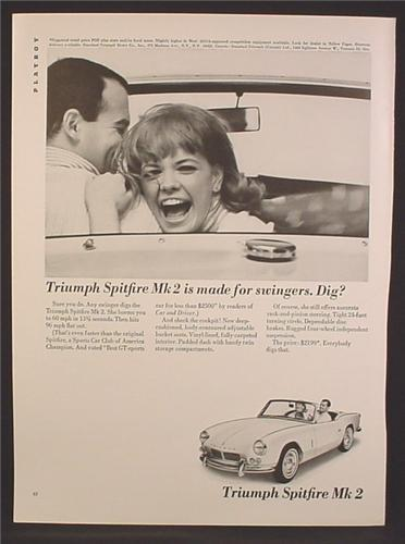Magazine Ad For Triumph Spitfire MK 2 Car is Made for Swingers, Dig, Excited Woman, 1964