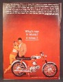 Magazine Ad For Honda Super 90 Motorcycle, Couple Admiring The Bike, 1964, 8 3/8 by 11