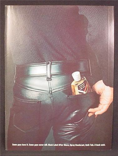Magazine Ad For Black label After Shave, Back Side of Man in Tight Leather Pants, 1964