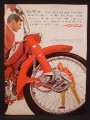 Magazine Ad For Honda Motorcycle, Close Up of Front Wheel, Fork, Fender, 1964, 8 3/8 by 11