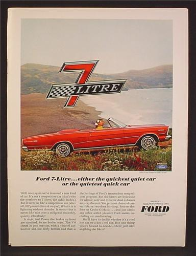 Magazine Ad For Ford Galaxie 500 7-Litre Red Convertible Car, Quickest Quiet Car, 1964