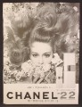 Magazine Ad For Chanel 22 Perfume, Fragrance, Pretty Woman Surrounded By Flowers, 1964