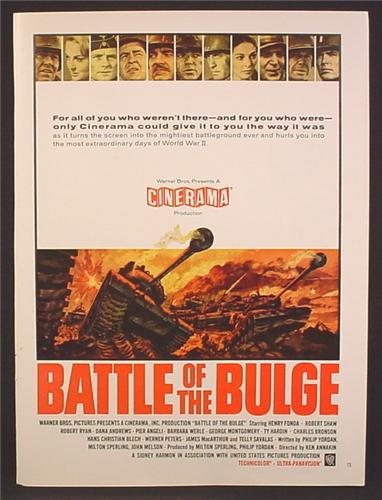 Magazine Ad For Battle Of The Bulge Movie, Cinerama, Henry Fonda, Robert Shaw, 1964