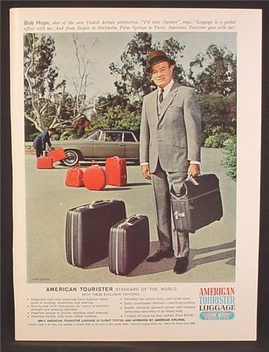 Magazine Ad For American Tourister Luggage, Bob Hope, Celebrity Endorsement, 1966