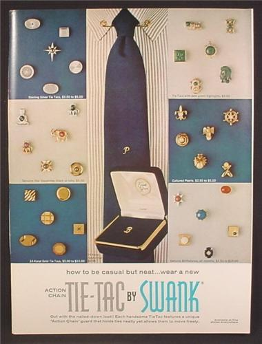Magazine Ad For Swank Jewelry, Action Change Tie-Tac, Tie Tac, Tie Pins, 1966, 8 3/8 by 11