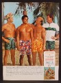 Magazine Ad For Jantzen Swimwear For Men, 4 Buff Guys On The Beach, 1966, 8 3/8 by 11