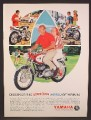 Magazine Ad For Yamaha Big Bear Scrambler 250 Motorcycle, Couple on Bikes, Swinging, 1966