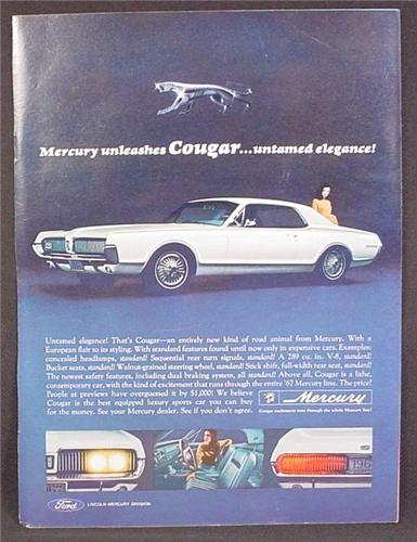 Magazine Ad For Mercury Cougar Car, Untamed Elegance, Side & Front View, 1966