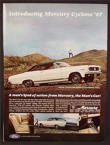 Magazine Ad For 1967 Mercury Cyclone Car,, Side & Rear Views, Interior, 1966, 8 3/8 by 11