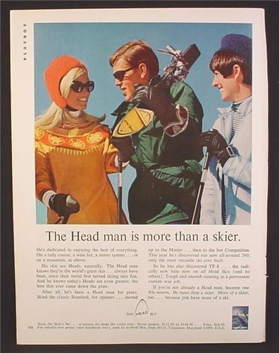 Magazine Ad For Head Skis, Skier With 2 Pretty Women, 1966, 8 3/8 by 11