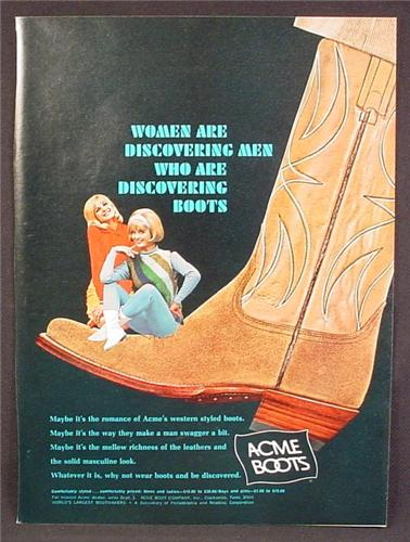 Magazine Ad For Acme Cowboy Boots. Women Are Discovering Men With Boots, 1967