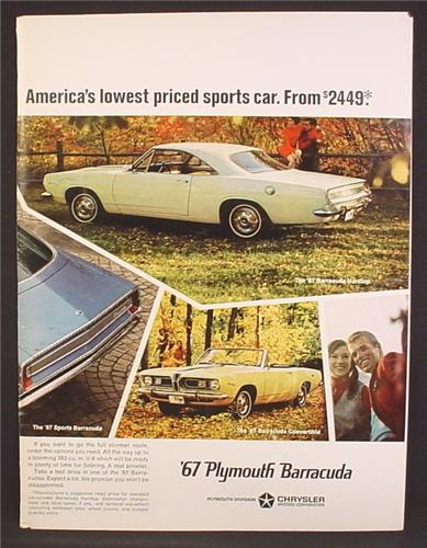 Magazine Ad For Plymouth Convertible Barracuda Car, Hardtop & Sports, 1967, 8 1/4 by 11