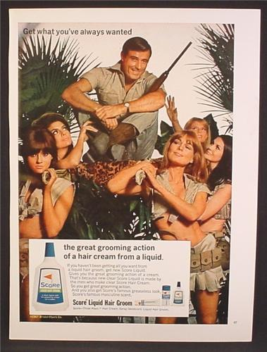 Magazine Ad For Score Liquid Hair Groom, Sexy Women Carrying Big Game Hunter, 1967