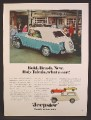 Magazine Ad For Jeepster Blue Car with White Roof & Spare Cover, Campus Book Store, 1967