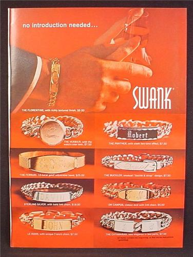 Magazine Ad For Swank Jewelry, 8 Different Bracelets with Engraving Plates, 1967