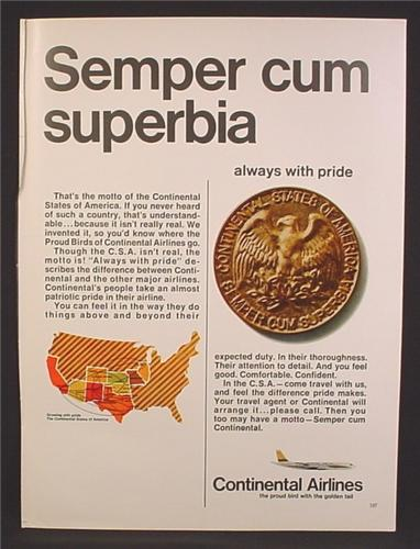 Magazine Ad For Continental Airlines, Semper Cum Superbia, Always With Pride, Gold Coin, 1967