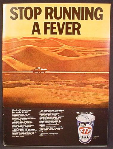 Magazine Ad For STP Oil Treatment, Stop Running A Fever, Car In Desert, 1967, 8 3/8 by 11