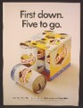Magazine Ad For Falstaff Beer, 6 Pack, One Empty Can, First Down, Five To Go, 1967