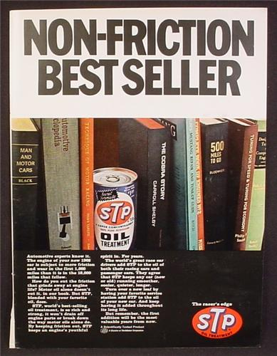Magazine Ad For STP Oil Treatment, Non Friction Best Seller, Can Between Books, 1967
