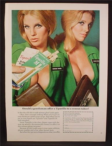 Magazine Ad For Tiparillo, Offer To A Census Taker, 2 Sexy Women With Lots of Cleavage, 1968