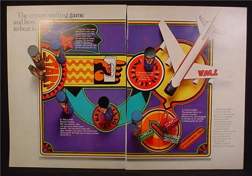 Magazine Ad For TWA Airlines, The Airport Game & How To Beat It, Board Game, 1968