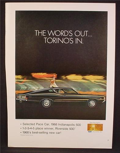 Magazine Ad For Ford Torino Car, Side View, Black With Gold Pinstripe, Pace Car, 1968